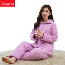 Xiangerma Winter Brand New Homewear Casual Print Pajama Sets Women Sleepwear Suit Coat Pants Woven+Knitted Cotton