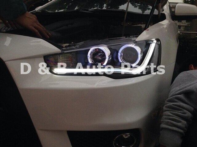 1 пара Фирменная Новинка светодиодные фары LED фара с двойным объективом для Mitsubishi Lancer EX 2010-2013'
