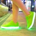 Sapatos Mulheres Light Up Glowing Led Luminoso Mulheres Lona Sapatos Casuais Neon Cesta de Recarga USB 7 Cores Simulação de Moda Únicos