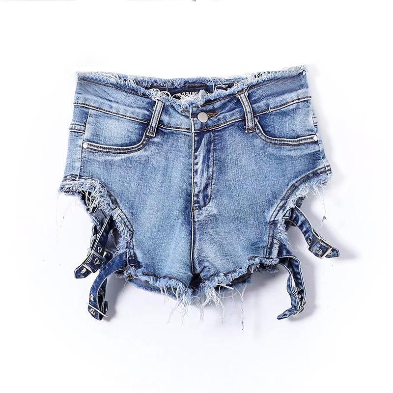 Stretch Muy Flacos Agujero Vintage Mujeres Verano Decoración Shorts Vaqueros Cortos Sexy Denim Azul 2018 B4xFZqwR5
