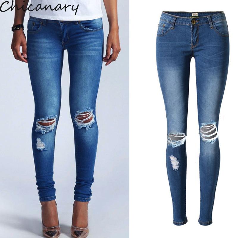 Female Cotton Denim Jeans Hole Women s Skinny Pants Pencil Jeans Pencil Trousers Women Elastic Slim
