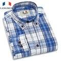 Langmeng 2016 moda primavera otoño hombres de negocios ocasional camisa a cuadros de manga larga 100% algodón camisas de vestir de marca de alta calidad