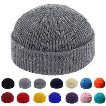 Шапки без полей, шапка в стиле хип-хоп, шапка с черепом, уличная вязаная шапка для женщин и мужчин, акрил, унисекс, повседневная однотонная шапка с тыквой, переносная шапка с дыней