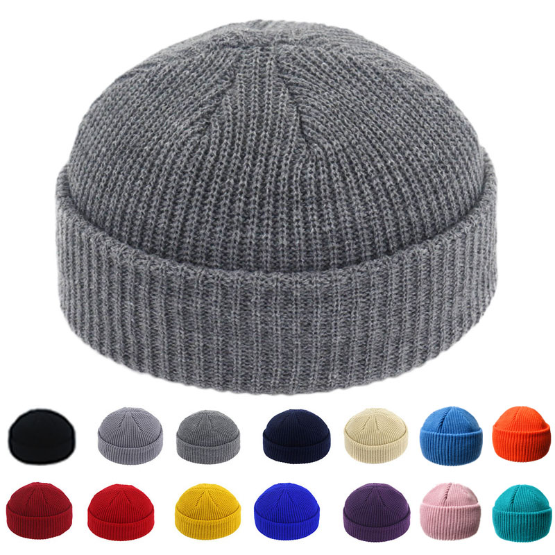 Brimless Hats Hip Hop Beanie Skullcap Street Knitted Hat Women Men Acrylic Unisex Casual Solid Pumpkin Portable Melon Cap