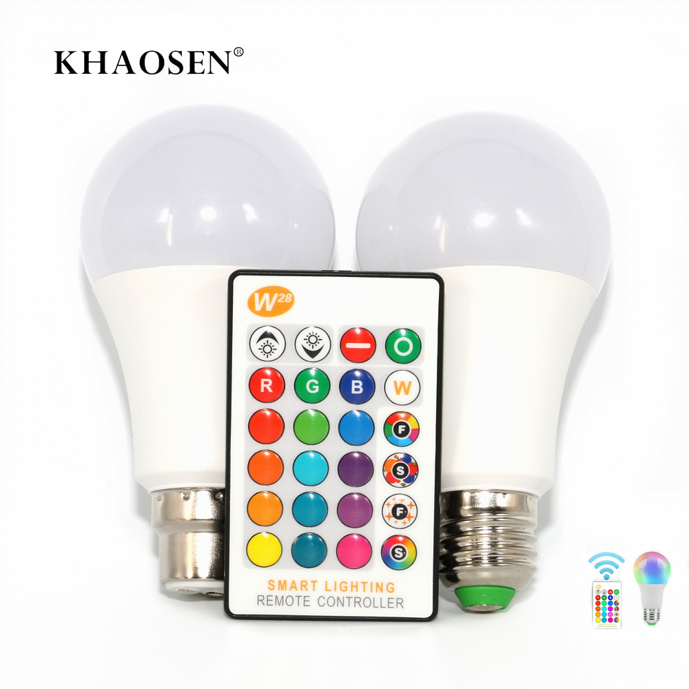 Smart Lights LED Lamp E27/B22 RGB/RGBW Bulb 5W 10W  15W Colored Light Bulb For Home Holiday Decoration With Remote Control