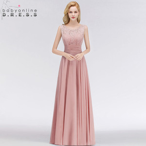 Image 2 - Vestido Madrinha Dusty Rose Lace Long Bridesmaid Dresses Sexy A Line Chiffon Dress for Wedding Party Robe Demoiselle Dhonneur