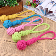 2016 Hot Sell Pet Toys Durable Pet Woven Cotton Rope Ball Durable For Aggressive Cats Dogs Chew Toys Bone Knot Random Color