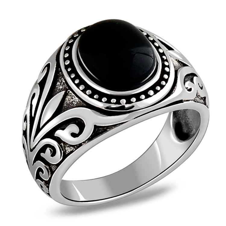 925 Sterling Silver Black Agate & Red Garnet Ancient Vne Flowers Ring Men Thai Silver Fine Jewelry Gift Finger Ring CH037009 thai silver inlaid garnet ring finger female retro chalcedony green agate jewelry ruby ring opening