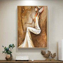 100%Hand painted retro brown Palace oil painting mural elegant girl lady Oil Painting For Room Decor Wall Hang Craft