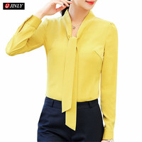 chiffon blouse office ladies formal plus size tops Orange 2018 Elegant long sleeve women slim shirt spring fashion colthes bow