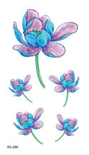 RC2289 Waterproof Disposable Tattoo Stickers Fresh Blue Lotus Flower Floral Pattern Temporary Tattoo Sticker For Women