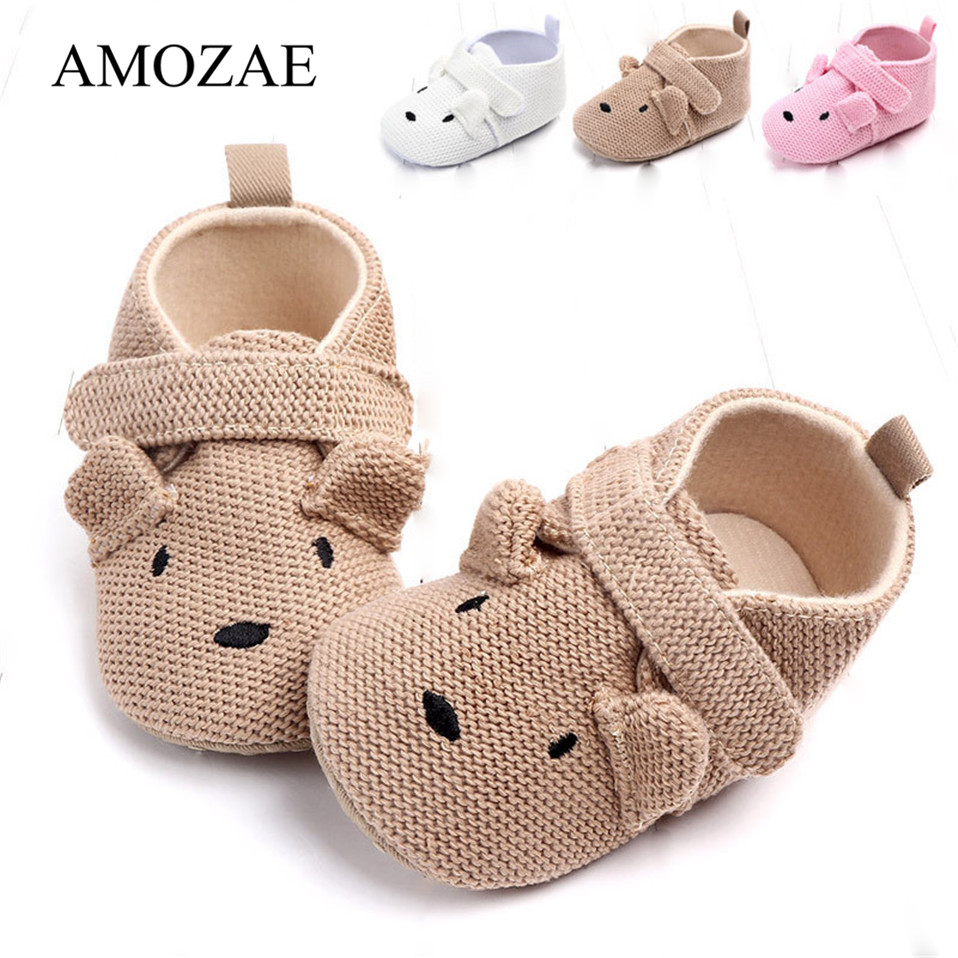 New Arrival Baby Shoes Knitting Cartoon Animal Pattern Shoes Spring Autumn Soft Sole Baby Boys Girl Newborn Cute First Walker