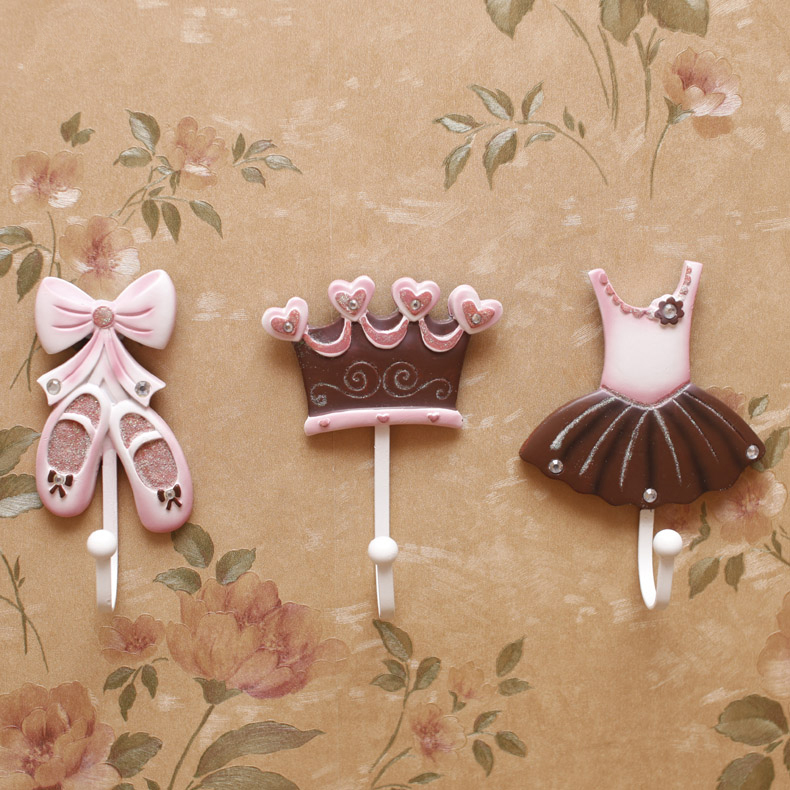 ballet shoes princess dress crown clothes hook hangers resin decorative coat hooks wall mounted creative - Decorative Coat Hooks