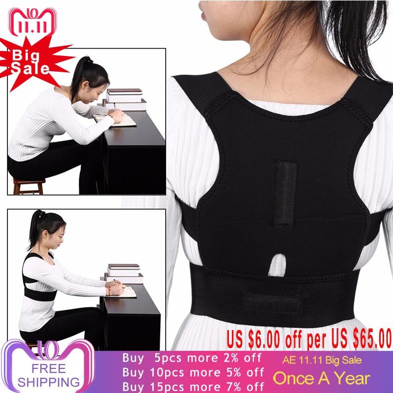 Adjustable Back Brace Posture Corrector Back Spine Support Brace Belt Shoulder Lumbar Correction Bandage Corset For Men Women цена