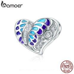 BAMOER 100% 925 Sterling Silver Fantasy Butterfly Colorful Enamel Heart Shape Beads fit Bracelet Necklace Fine Jewelry SCC545