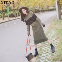 [XITAO] 2017 New Autumn Korea Fashion Brief Style Female Striped Full Sleeve O-neck Pullover Loose Long Straight Sweaters TXN761