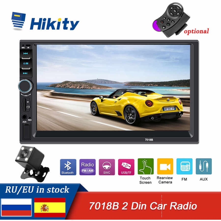 "Hikity Auto Multimidia Speler 7018B Autoradio 2 Din 7 ""Auto Radio Touch Screen Audio Stereo Bluetooth Fm Ondersteuning Camera controle"