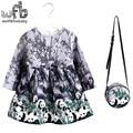 2-8years Vestido + Saco de varejo/set Linho impressão vestido para Bebê Menina Primavera Verão Outono Princesa Da Longo-Luva backgroud cinza panda