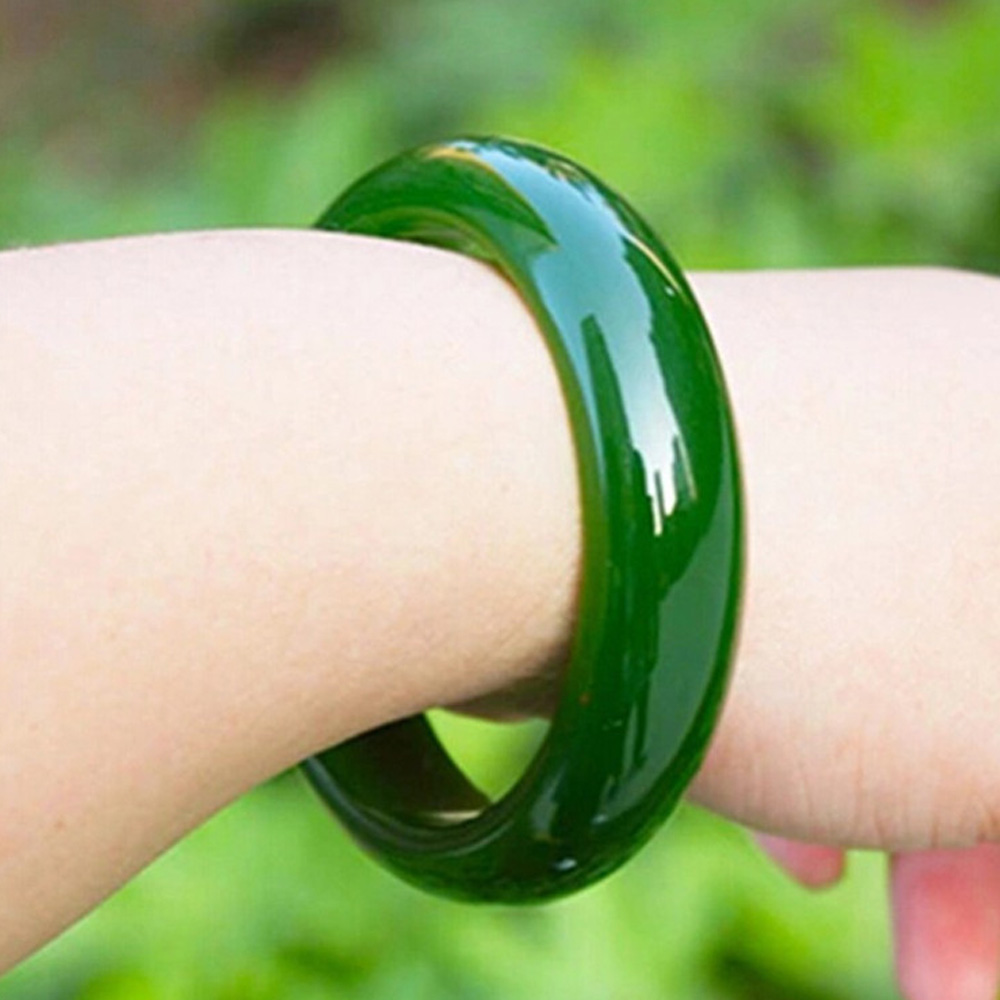 a itm bracelet green jade genuine real bangle natural