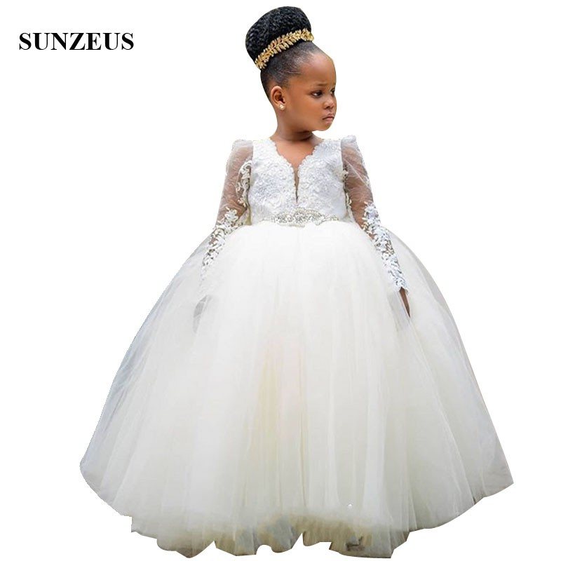 Long Sleeves   Flower     Girl     Dresses   For Weddings Ball Gown V-neck Floor Length Ivory Tulle Children Party Gowns Pageant   Dresses