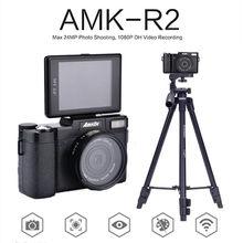 """Amkov amk-r2 24mp 3 """"CMOS Экран HD 1080 P Цифровые камеры 180 градусов USB вращающийся видеокамера широкоугольный объектив + штатив + card reader"""