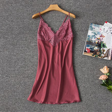 Herislim Fashion Spaghetti Straps Nightgown Spring Summer Nightdress Sexy V Neck Lace Trim Dress Backless Sleepwear Home Clothes цена 2017