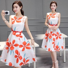 2016 New Summer Fashion Women's Clothing Sleeveless Round Collar  Long Dress A-line Floral Printing Sashes Dresses Female