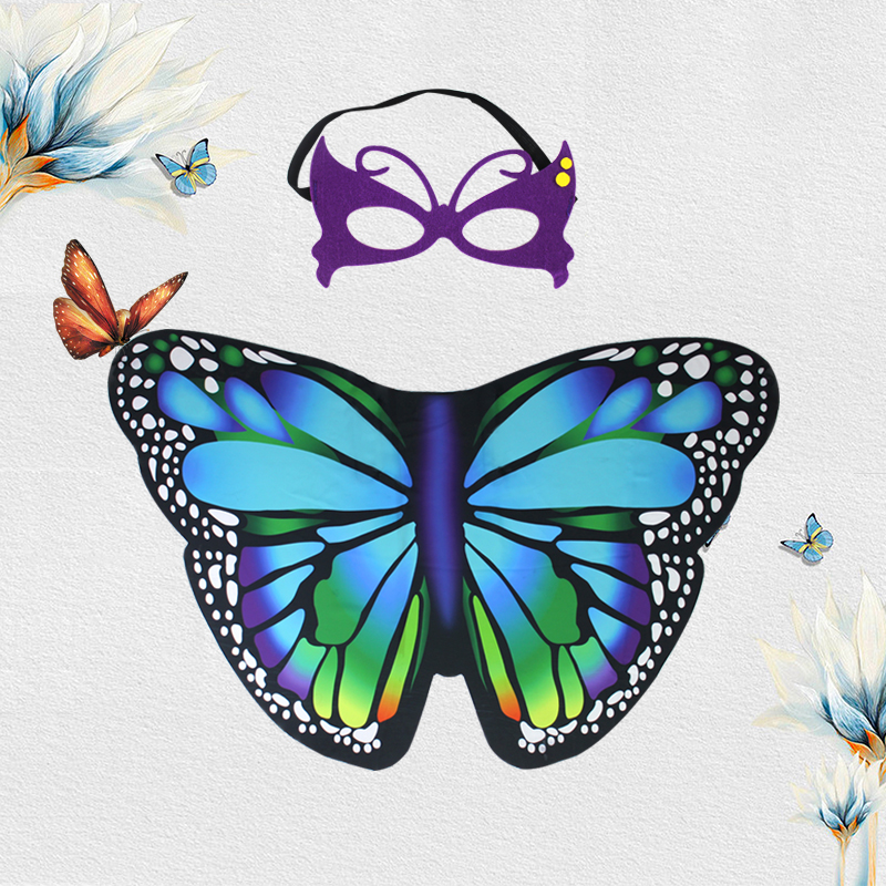 3-8 Y.O Special Lovely Butterfly Wings And Butterfly Mask Flapping Colorful Butterfly Costumes Summer Sunscreen Suits