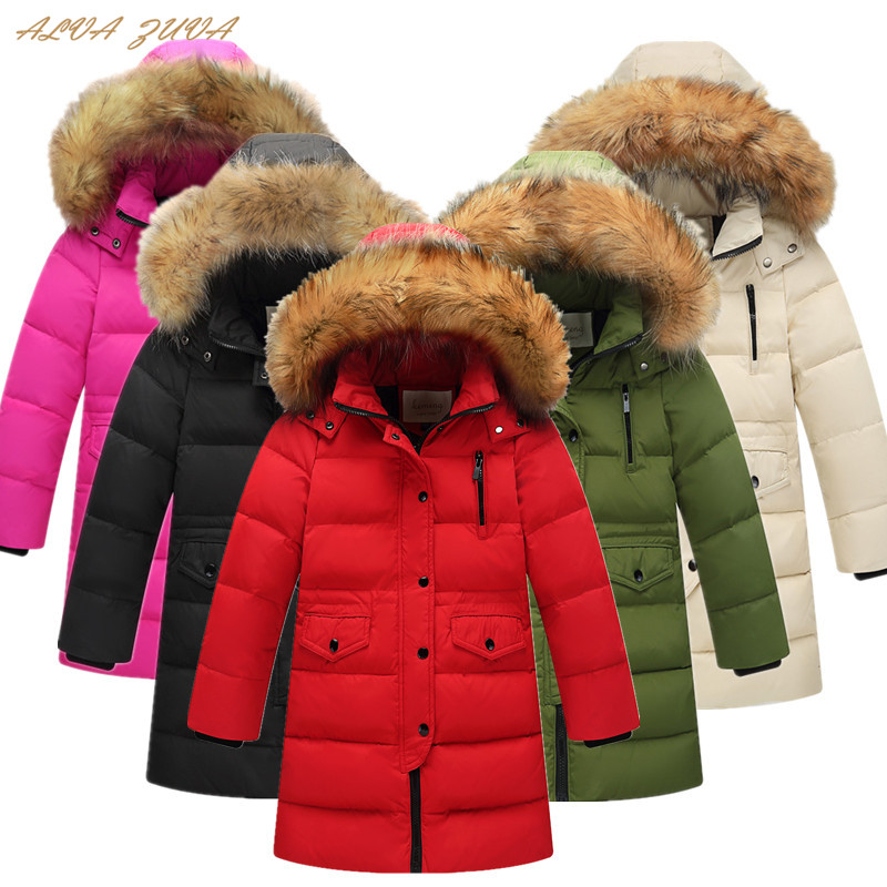 Russia Winter Children Thickening Warm Down Jackets Kids Fur Collar Outerwear Boys Girls Parka Coats Cyy232 weixu fashion girls winter coat kids outerwear parka down jackets hooded fur collar outdoor warm long coats children clothing
