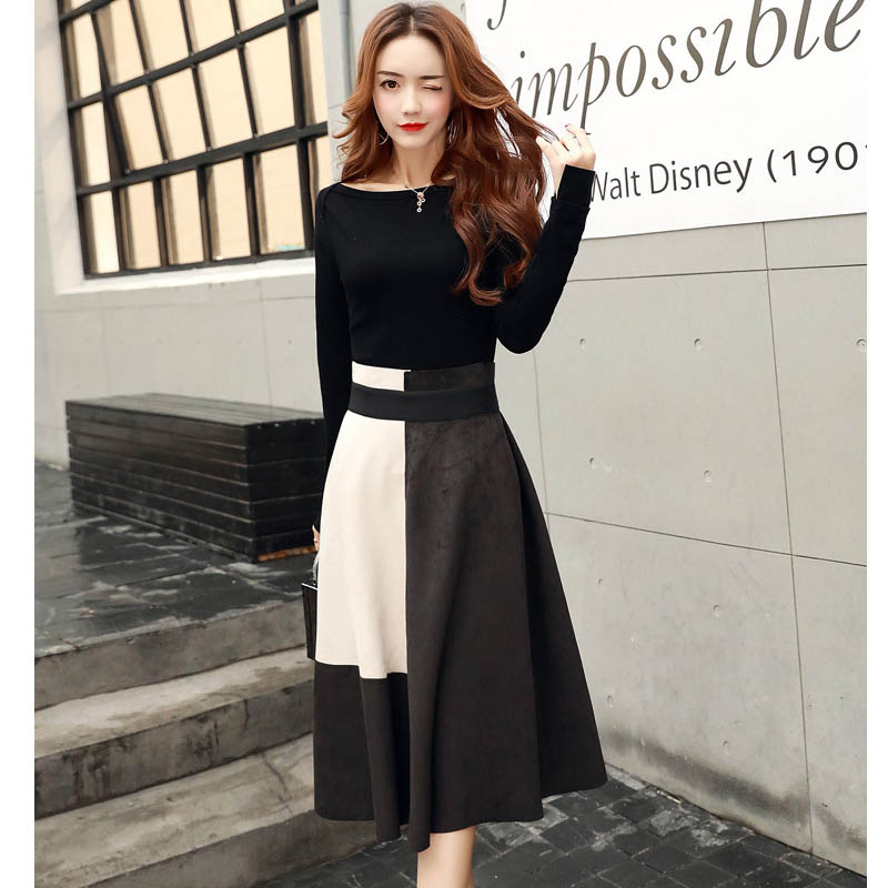 NORMOV Fashion Autumn Women 2 Pieces Set Solid Color Long Sleeve Tops+Long Skirt Female Suit Lady Streetwear With Belt Suit