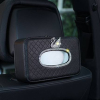 Swan Car Back Seat Tissue Box Leather Crystal Rhinestone Paper Tower Hanging Storage Boxes Diamond Auto