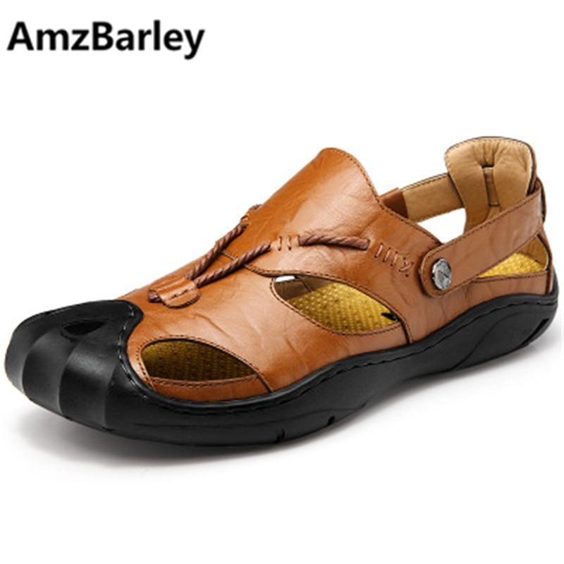 AmzBarley Мужские Пляжные Сандалии Из Натуральной Кожи Плюс Размер 46 Летняя Обувь Обувь Плоский Поскользнуться На Обувь Свободного Покроя Дышащий Мода 2018