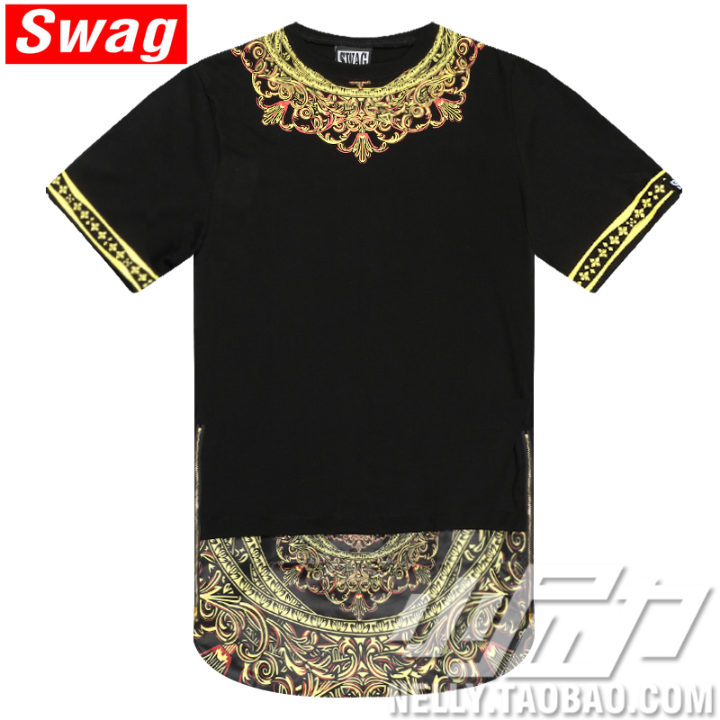 2015 New Fashion Mens T-shirt Side Zipper Streetwear Hip-hop Print Lengthen Tshirts Long Design dress Tee - Hiphop Dance's Club store
