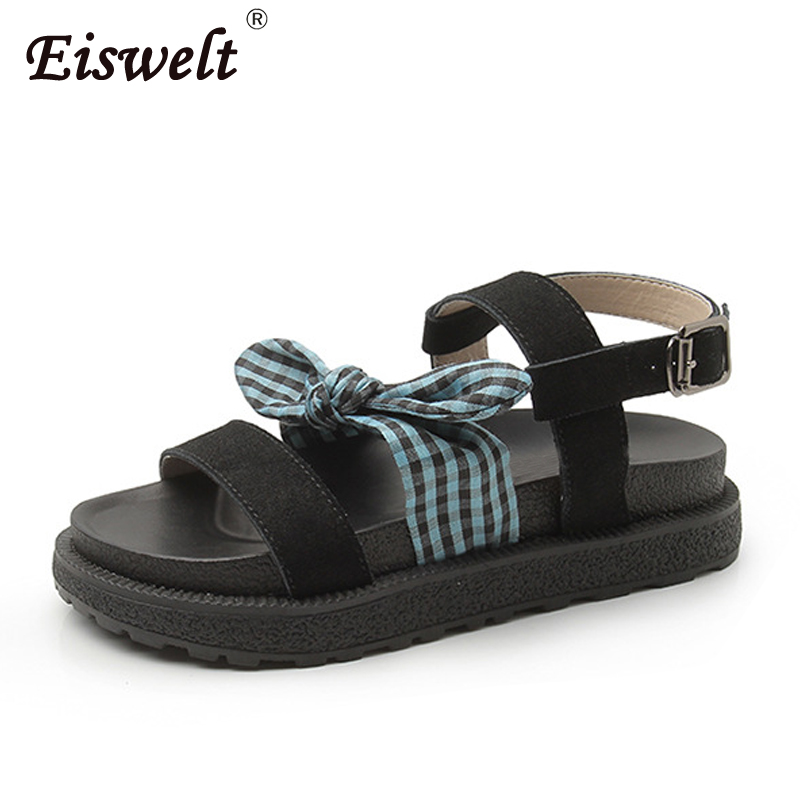 EISWELT Women Summer New Wild Bow Thick Female Sandals Flat Comfortable Shoes Solid Spring Ladies Fashion Casual Women Sandals new casual women sandals shoes summer fashion slip on female sandals bohemian wild ladies flat shoes beach women footwear bt537