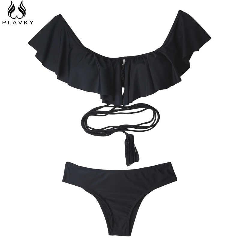 2019, сексуальный купальник с открытыми плечами, с оборками, бандо, стринги, бикини на бретельках, купальник, одежда для плавания, купальник, одежда для плавания, Женский Бразильский бикини