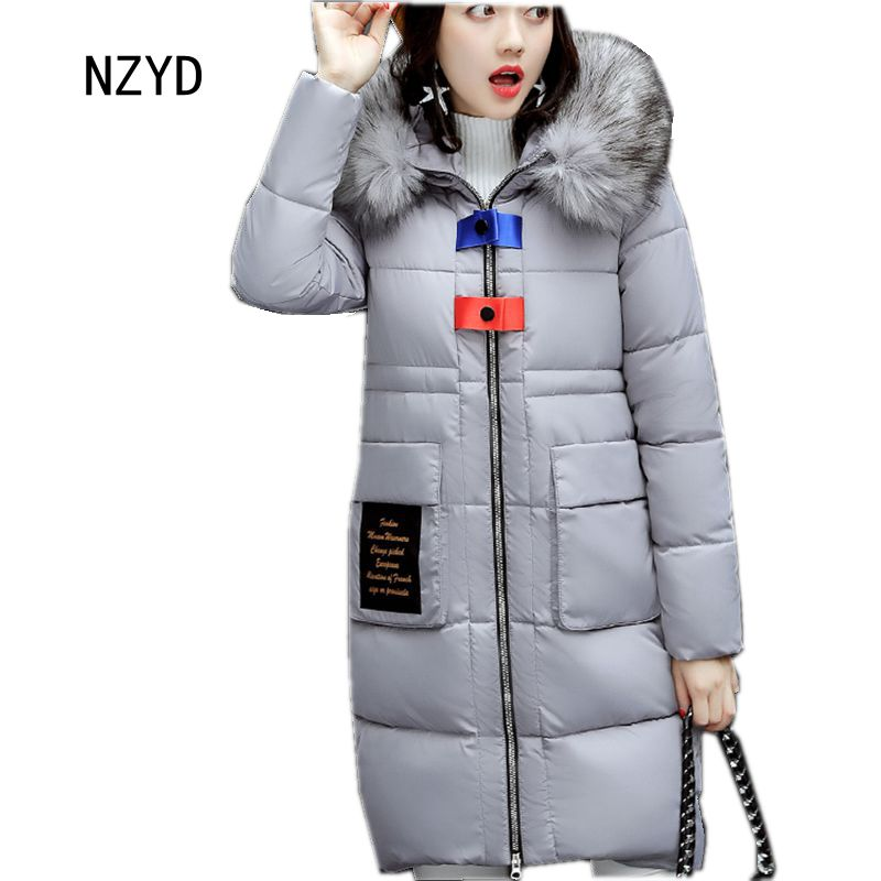 Women Winter Jacket 2017 New Fashion Hooded Thickening Warm Medium long Parkas Long sleeve Loose Big yards Female Coat LADIES225 2015 new mori girl wave raglan hooded loose sleeve medium long wadded jacket female