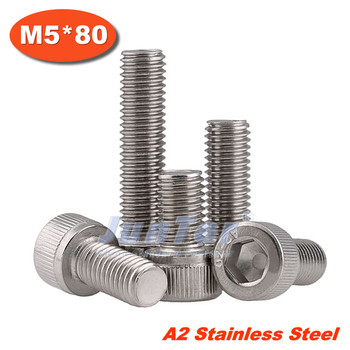 100pcs/lot DIN912 M5*80 Stainless Steel A2 Hex Socket Head Cap Screw