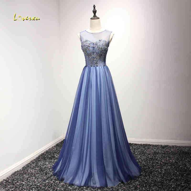 Loverxu Elegant O-neck Lace Up Floor-Length Evening Dresses 2019 Design Luxury Beaded Celebrity Dress Party Gown Robe De Soiree