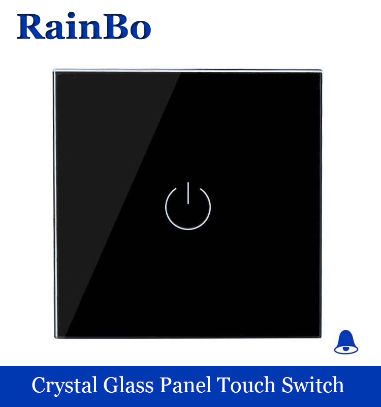 Touch Switch Screen Crystal Glass Panel Switch door bell Switch 110~250V Wall Light Switch  Black for LED Lamp rainbo A1911MLB smart home wall touch switch white crystal glass panel 1gang1way 110 250v led indicator us light led touch screen switch