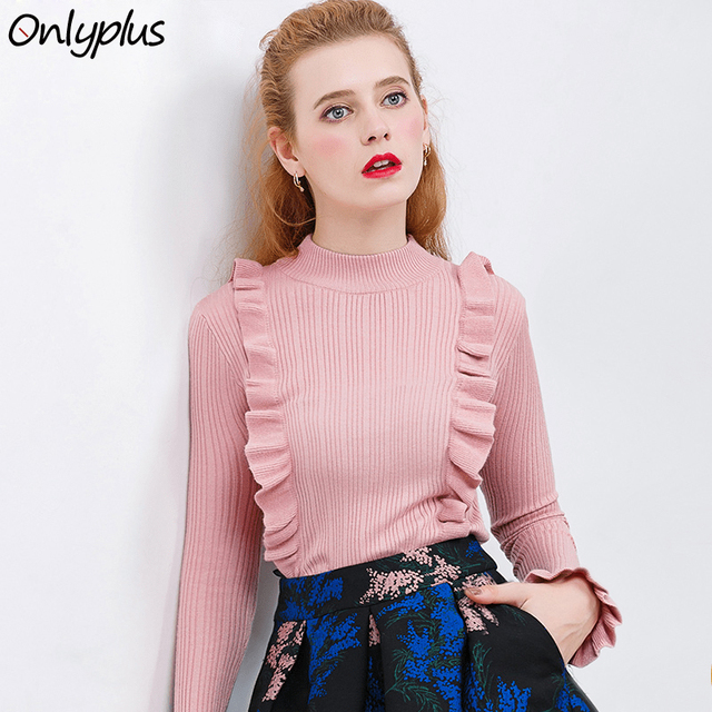 9a3703cc36f0eb Onlyplus Ruffles Blouse Shirt Women Casual Loose Long Sleeve Tops Knitted  Cotton Blusas Autumn Woman Fashion Pink Striped Blouse