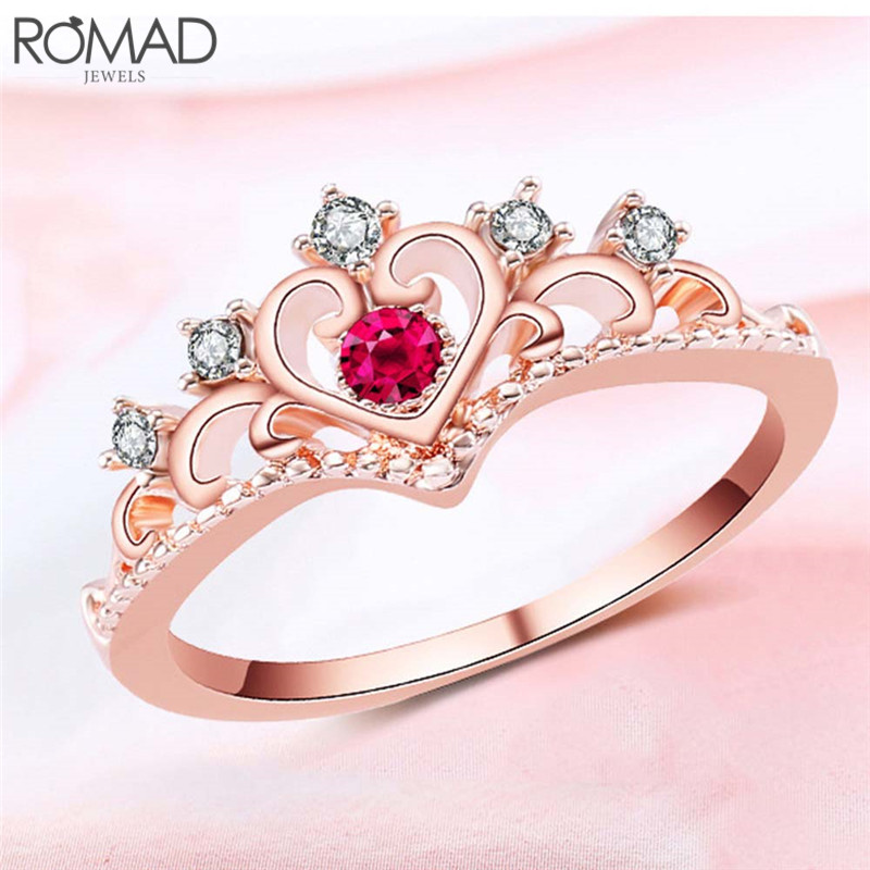 Gs 2018 Arrival Fashion Crystal Crown Ring Silver/rose Gold Wedding Rings For Women Vintage Tiara Jewelry Accessories Anillos R4
