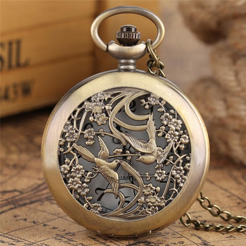 a23fca379cf2 Купить Бронза сорока с цветком карманные часы унисекс Медь Цепочки и ...