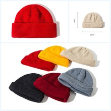 2019 New 1PC Cotton Thick Knitting Hat Solid Warm Winter Beanie Caps Yellow Red