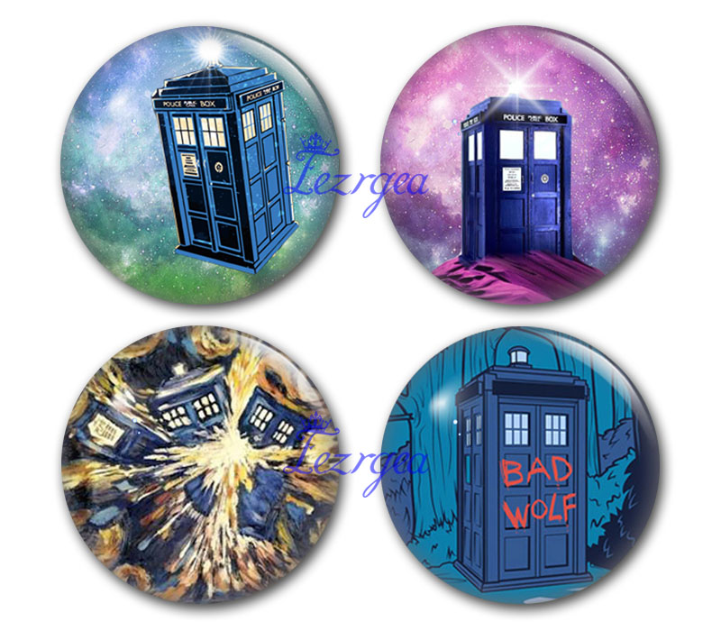 Tardis 12mm/14mm/16mm/18mm/25mm/30mm Doctor who Round photo glass cabochon demo flat back Making findings