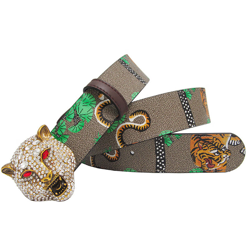 Western Rhinestone Leopard Head Buckle Tiger Print Leather Men Belt Gift With Jeans