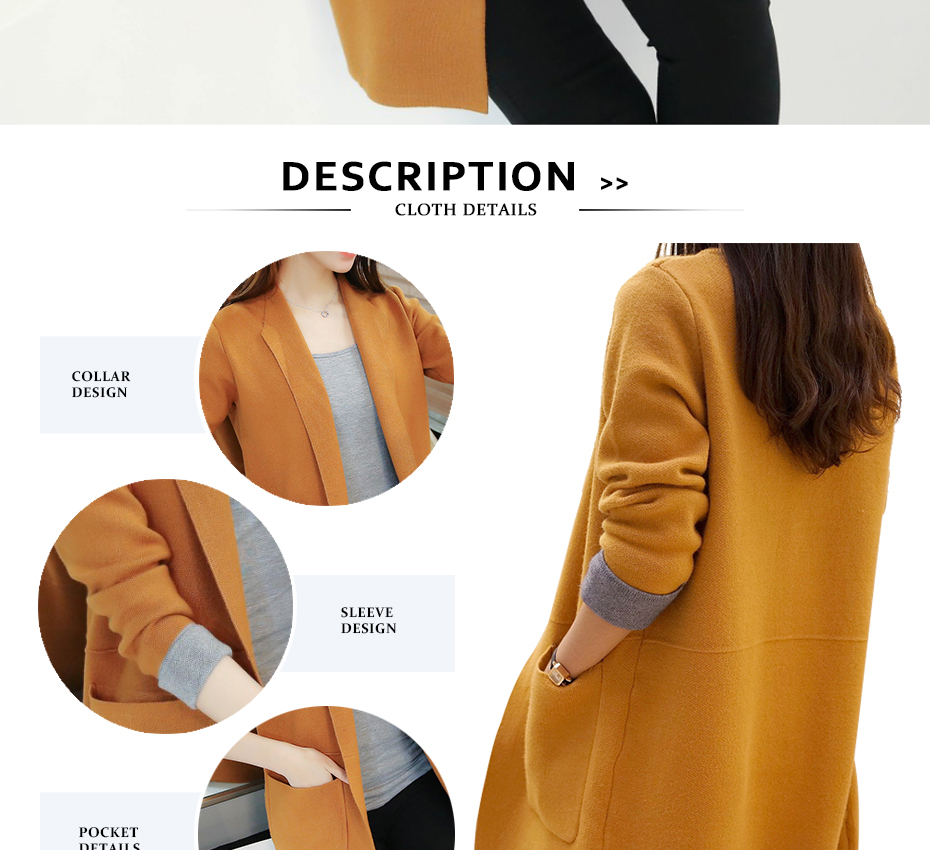 TIGENA Long Cardigan Female 2018 Autumn Winter Women Long Sleeve Cardigan Sweater Knitted Cardigans For Women Jacket Tops 3
