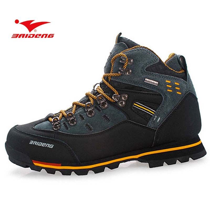BAIDENG Men Athletic Shoes Breathable Trekking Outdoor Boot Men's Hiking Rock Climbing Sport  Boots Shoes Botas yin qi shi man winter outdoor shoes hiking camping trip high top hiking boots cow leather durable female plush warm outdoor boot
