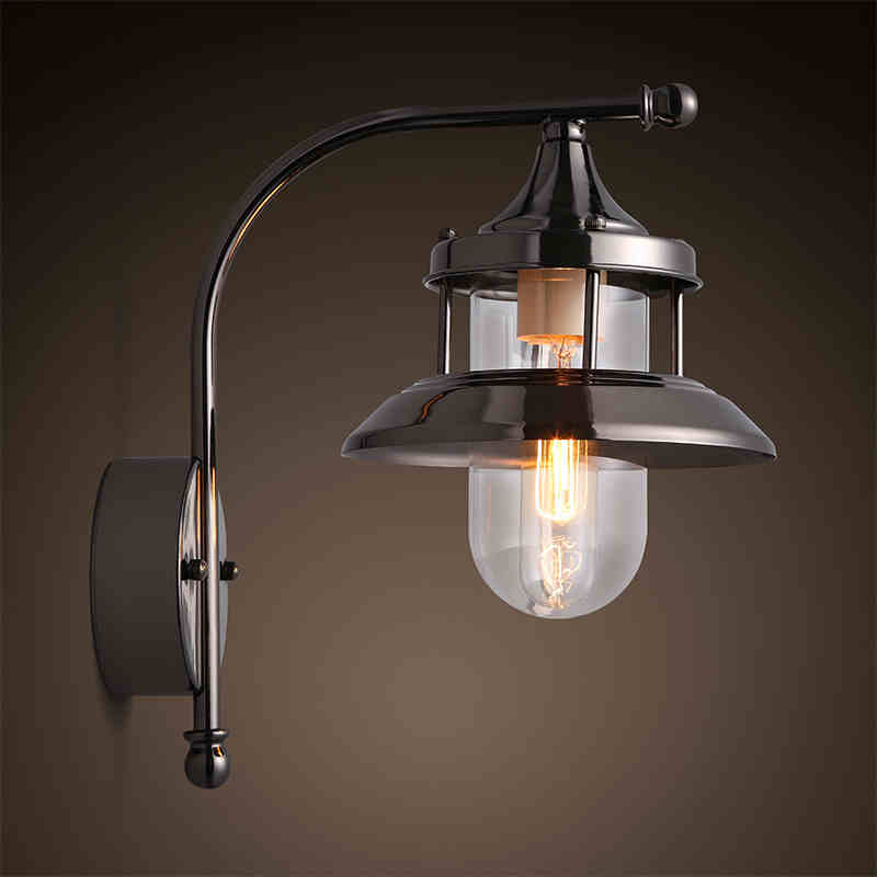 American country style retro industrial iron glass Wall Lamps living room bedroom balcony corridor aisle wall free shipping