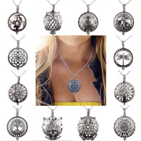 12pcs 14 Aroma Diffuser Necklace Open Antique Vintage Lockets Pendant Perfume Essential Oil Aromatherapy Locket Necklace