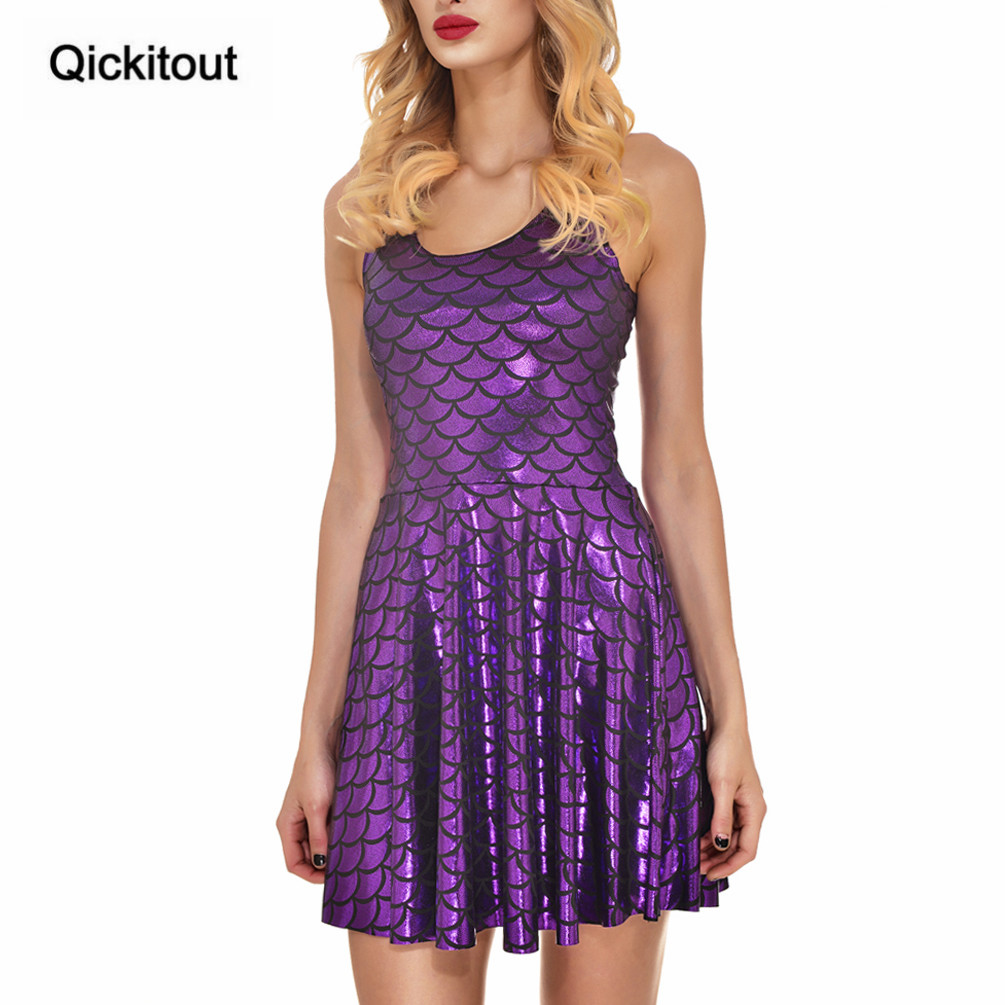 Qickitout Dress 2016 New Arrival Plus size Women Dress Digital Print  Mermaid Color Scales Dress Sleeveless DRESS vestidos-in Dresses from Women s  Clothing ... 6946f836a278